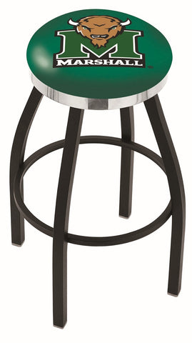 "Marshall  Thundering Herd 30"" L8B2C - Black Wrinkle Marshall Swivel Bar Stool with Chrome Accent Ring by Holland Bar Stool Company"