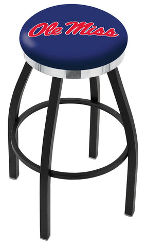 "Ole Miss Rebels 30"" L8B2C - Black Wrinkle Ole' Miss Swivel Bar Stool with Chrome Accent Ring by Holland Bar Stool Company"