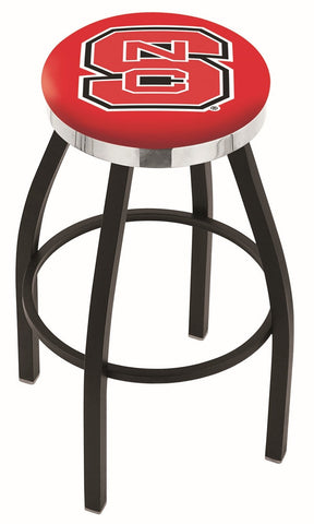 "NC State Wolfpack 30"" L8B2C - Black Wrinkle North Carolina State Swivel Bar Stool with Chrome Accent Ring by Holland Bar Stool Company"