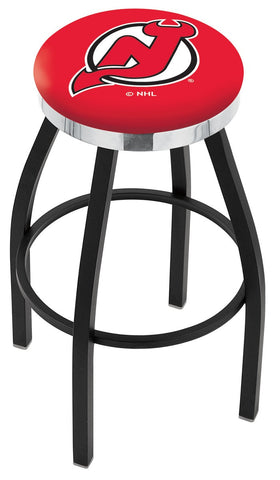 "30"" L8B2C - Black Wrinkle New Jersey Devils Swivel Bar Stool with Chrome Accent Ring by Holland Bar Stool Company"