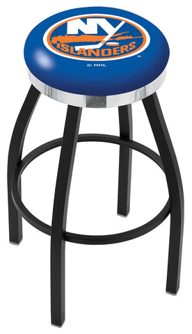 "30"" L8B2C - Black Wrinkle New York Islanders Swivel Bar Stool with Chrome Accent Ring by Holland Bar Stool Company"