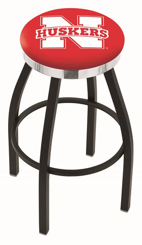 "Nebraska Cornhuskers 30"" L8B2C - Black Wrinkle Nebraska Swivel Bar Stool with Chrome Accent Ring by Holland Bar Stool Company"
