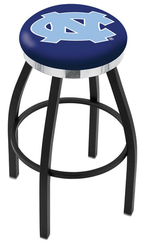 "UNC Tar Heels 30"" L8B2C - Black Wrinkle North Carolina Swivel Bar Stool with Chrome Accent Ring by Holland Bar Stool Company"