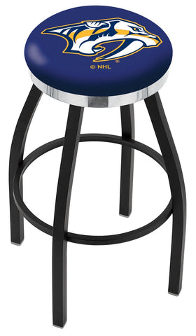 "30"" L8B2C - Black Wrinkle Nashville Predators Swivel Bar Stool with Chrome Accent Ring by Holland Bar Stool Company"
