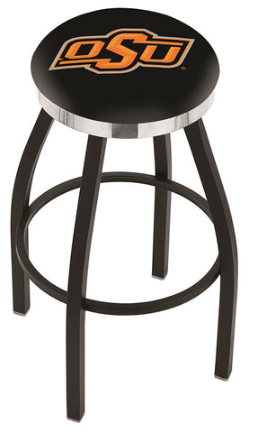 "OSU Cowboys 30"" L8B2C - Black Wrinkle Oklahoma State Swivel Bar Stool with Chrome Accent Ring by Holland Bar Stool Company"
