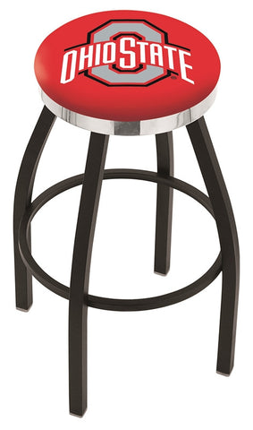 "OSU Buckeyes 30"" L8B2C - Black Wrinkle Ohio State Swivel Bar Stool with Chrome Accent Ring by Holland Bar Stool Company"