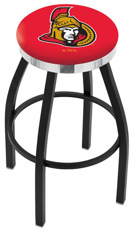 "30"" L8B2C - Black Wrinkle Ottawa Senators Swivel Bar Stool with Chrome Accent Ring by Holland Bar Stool Company"