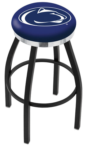 "PSU Nittany Lions 30"" L8B2C - Black Wrinkle Penn State Swivel Bar Stool with Chrome Accent Ring by Holland Bar Stool Company"