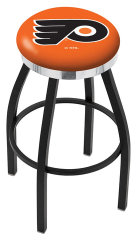 "30"" L8B2C - Black Wrinkle Philadelphia Flyers Swivel Bar Stool with Chrome Accent Ring by Holland Bar Stool Company"
