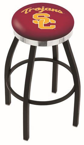 "USC Trojans 30"" L8B2C - Black Wrinkle USC Trojans Swivel Bar Stool with Chrome Accent Ring by Holland Bar Stool Company"
