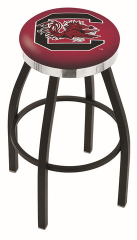 "South Carolina Gamecocks 30"" L8B2C - Black Wrinkle South Carolina Swivel Bar Stool with Chrome Accent Ring by Holland Bar Stool Company"