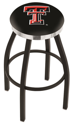 "TTU Red Raiders 30"" L8B2C - Black Wrinkle Texas Tech Swivel Bar Stool with Chrome Accent Ring by Holland Bar Stool Company"