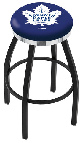 "30"" L8B2C - Black Wrinkle Toronto Maple Leafs Swivel Bar Stool with Chrome Accent Ring by Holland Bar Stool Company"