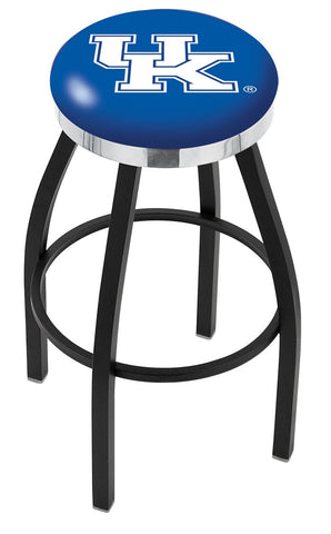 "UK Wildcats 30"" L8B2C - Black Wrinkle Kentucky ""UK"" Swivel Bar Stool with Chrome Accent Ring by Holland Bar Stool Company"