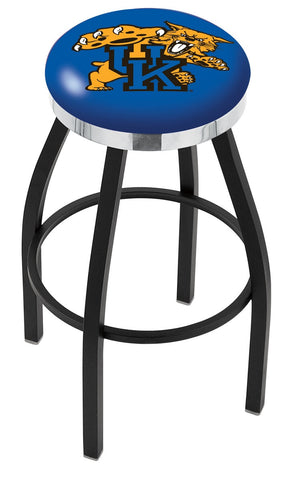 "UK Wildcats 30"" L8B2C - Black Wrinkle Kentucky ""Wildcat"" Swivel Bar Stool with Chrome Accent Ring by Holland Bar Stool Company"