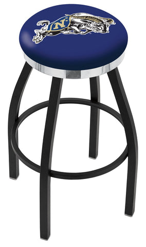 "Navy Midshipmen 30"" L8B2C - Black Wrinkle US Naval Academy (NAVY) Swivel Bar Stool with Chrome Accent Ring by Holland Bar Stool Company"