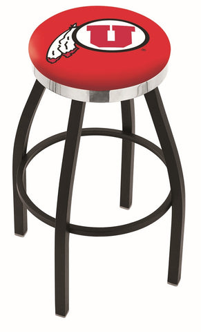 "Utah Utes 30"" L8B2C - Black Wrinkle Utah Swivel Bar Stool with Chrome Accent Ring by Holland Bar Stool Company"