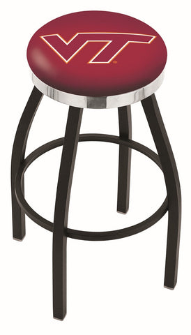 "VT Hokies 30"" L8B2C - Black Wrinkle Virginia Tech Swivel Bar Stool with Chrome Accent Ring by Holland Bar Stool Company"