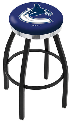 "30"" L8B2C - Black Wrinkle Vancouver Canucks Swivel Bar Stool with Chrome Accent Ring by Holland Bar Stool Company"