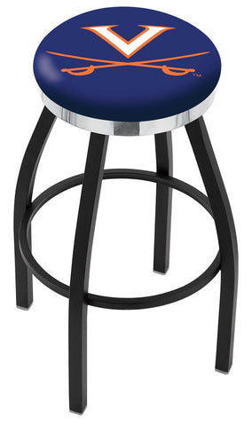 "UVA Cavaliers 30"" L8B2C - Black Wrinkle Virginia Swivel Bar Stool with Chrome Accent Ring by Holland Bar Stool Company"