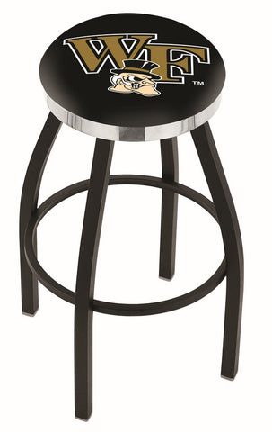 "Wake Forest Demon Deacons 30"" L8B2C - Black Wrinkle Wake Forest Swivel Bar Stool with Chrome Accent Ring by Holland Bar Stool Company"