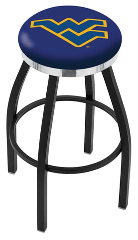 "WVU Mountaineers 30"" L8B2C - Black Wrinkle West Virginia Swivel Bar Stool with Chrome Accent Ring by Holland Bar Stool Company"