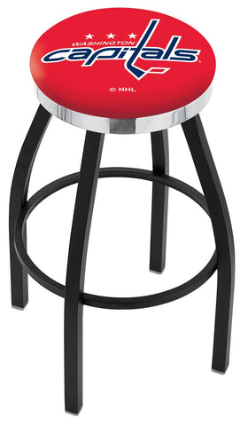 "30"" L8B2C - Black Wrinkle Washington Capitals Swivel Bar Stool with Chrome Accent Ring by Holland Bar Stool Company"