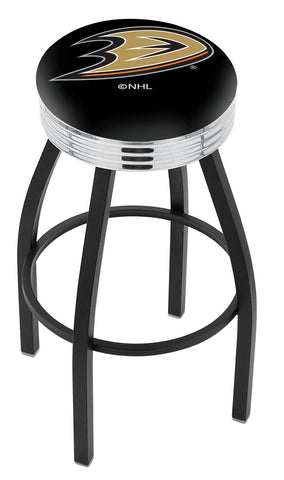 "30"" L8B3C - Black Wrinkle Anaheim Ducks Swivel Bar Stool with Chrome 2.5"" Ribbed Accent Ring by Holland Bar Stool Company"