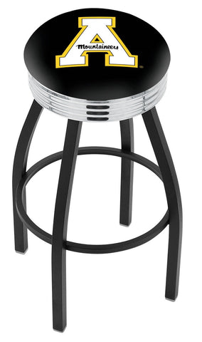 "ASU Mountaineers 30"" L8B3C - Black Wrinkle Appalachian State Swivel Bar Stool with Chrome 2.5"" Ribbed Accent Ring by Holland Bar Stool Company"