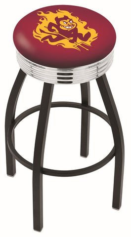 "ASU Sun Devils 30"" L8B3C - Black Wrinkle Arizona State Swivel Bar Stool with Chrome 2.5"" Ribbed Accent Ring by Holland Bar Stool Company"