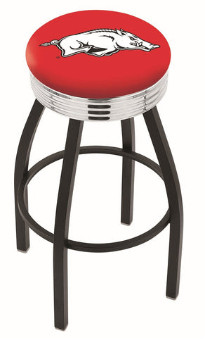 "Arkansas Razorbacks 30"" L8B3C - Black Wrinkle Arkansas Swivel Bar Stool with Chrome 2.5"" Ribbed Accent Ring by Holland Bar Stool Company"