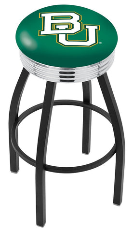 "Baylor  Bears 30"" L8B3C - Black Wrinkle Baylor Swivel Bar Stool with Chrome 2.5"" Ribbed Accent Ring by Holland Bar Stool Company"
