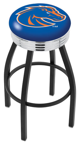 "BSU Broncos 30"" L8B3C - Black Wrinkle Boise State Swivel Bar Stool with Chrome 2.5"" Ribbed Accent Ring by Holland Bar Stool Company"