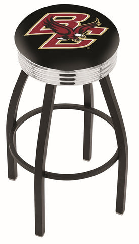 "BC Eagles 30"" L8B3C - Black Wrinkle Boston College Swivel Bar Stool with Chrome 2.5"" Ribbed Accent Ring by Holland Bar Stool Company"