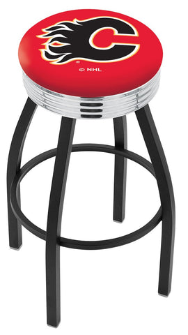 "30"" L8B3C - Black Wrinkle Calgary Flames Swivel Bar Stool with Chrome 2.5"" Ribbed Accent Ring by Holland Bar Stool Company"