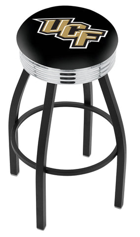 "UCF Knights 30"" L8B3C - Black Wrinkle Central Florida Swivel Bar Stool with Chrome 2.5"" Ribbed Accent Ring by Holland Bar Stool Company"