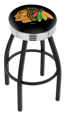 "30"" L8B3C - Black Wrinkle Chicago Blackhawks Swivel Bar Stool with Chrome 2.5"" Ribbed Accent Ring by Holland Bar Stool Company"