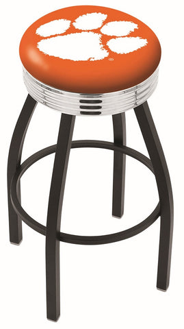 "Clemson  Tigers 30"" L8B3C - Black Wrinkle Clemson Swivel Bar Stool with Chrome 2.5"" Ribbed Accent Ring by Holland Bar Stool Company"