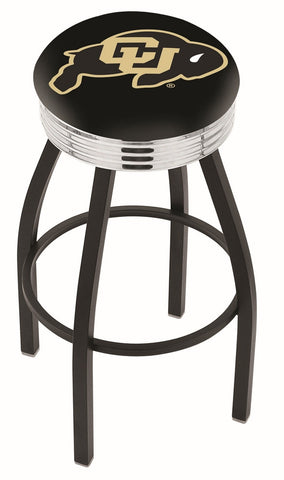"Colorado Buffaloes 30"" L8B3C - Black Wrinkle Colorado Swivel Bar Stool with Chrome 2.5"" Ribbed Accent Ring by Holland Bar Stool Company"