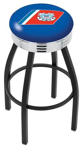 "30"" L8B3C - Black Wrinkle U.S. Coast Guard Swivel Bar Stool with Chrome 2.5"" Ribbed Accent Ring by Holland Bar Stool Company"