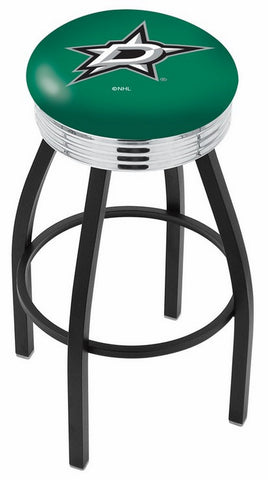 "30"" L8B3C - Black Wrinkle Dallas Stars Swivel Bar Stool with Chrome 2.5"" Ribbed Accent Ring by Holland Bar Stool Company"