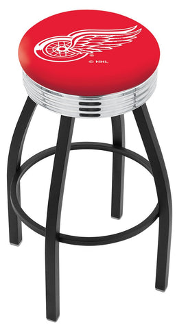 "30"" L8B3C - Black Wrinkle Detroit Red Wings Swivel Bar Stool with Chrome 2.5"" Ribbed Accent Ring by Holland Bar Stool Company"