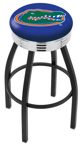 "UF Gators 30"" L8B3C - Black Wrinkle Florida Swivel Bar Stool with Chrome 2.5"" Ribbed Accent Ring by Holland Bar Stool Company"