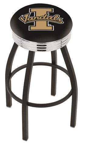 "Idaho Vandals 30"" L8B3C - Black Wrinkle Idaho Swivel Bar Stool with Chrome 2.5"" Ribbed Accent Ring by Holland Bar Stool Company"