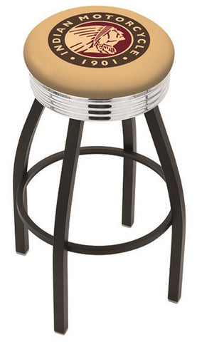 "30"" L8B3C - Black Wrinkle Indian Motorcycle Swivel Bar Stool with Chrome 2.5"" Ribbed Accent Ring by Holland Bar Stool Company"