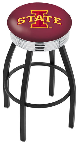"ISU Cyclones 30"" L8B3C - Black Wrinkle Iowa State Swivel Bar Stool with Chrome 2.5"" Ribbed Accent Ring by Holland Bar Stool Company"
