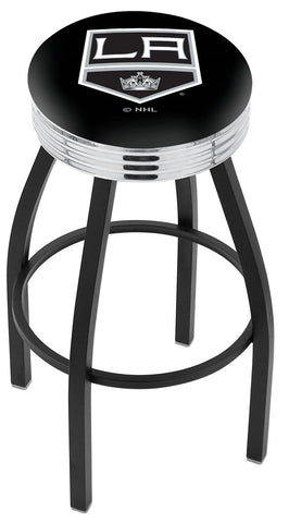 "30"" L8B3C - Black Wrinkle Los Angeles Kings Swivel Bar Stool with Chrome 2.5"" Ribbed Accent Ring by Holland Bar Stool Company"