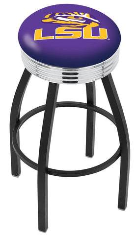"LSU Tigers 30"" L8B3C - Black Wrinkle Louisiana State Swivel Bar Stool with Chrome 2.5"" Ribbed Accent Ring by Holland Bar Stool Company"