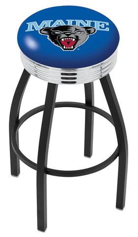 "Maine Black Bears 30"" L8B3C - Black Wrinkle Maine Swivel Bar Stool with Chrome 2.5"" Ribbed Accent Ring by Holland Bar Stool Company"