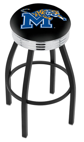 "Memphis Tigers 30"" L8B3C - Black Wrinkle Memphis Swivel Bar Stool with Chrome 2.5"" Ribbed Accent Ring by Holland Bar Stool Company"
